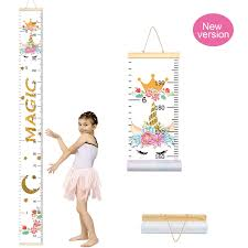 Growth Chart Newborn Girl Pashop Kids Unicorn Growth Chart Baby Roll Up Wood Frame Canvas Fabric Removable Height
