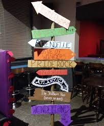 homecoming dance party ideas. i made this sign post for my disney party. used cardboard to make the signs and pinned them a long wooden signpost! was favourite decoration of homecoming dance party ideas