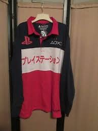 playstation urban outfitters red blue rugby shirt xl