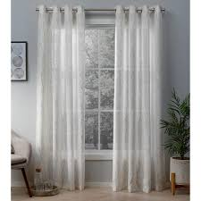 woodland winter white gold printed metallic branch sheer textured linen grommet top window curtain