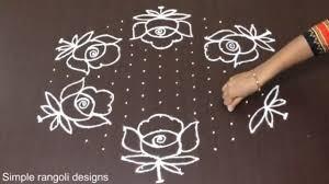 Simple Rangoli Designs With Dots 15 8 Rose Flower Kolam Designs With 15 8 Dots Chukkala Muggulu