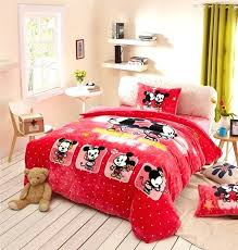 mickey and minnie comforter set mickey mouse print flannel comforter bedding set twin full queen size bedspread girls bedroom decor warm soft winter red