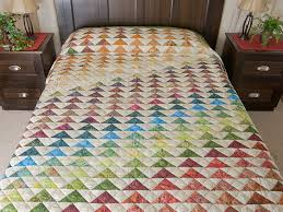 Rainbow Pyramid Quilt -- gorgeous made with care Amish Quilts from ... & Hand Painted Rainbow Pyramid Quilt Queen Size Photo 1 ... Adamdwight.com