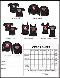 clothing order form template word example t shirt order form google search football cheer