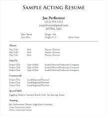 Sample Beginner Acting Resume