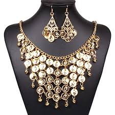 OULII Belly Dance Jewelry Set Gold Necklace Earrings For Party Favors  Costume Accessories