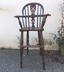 antique yew wood child s high chair