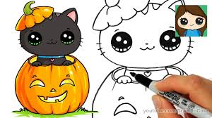 cute halloween black cat.  Cat How To Draw A Kitten For Halloween Easy And Cute Black Cat