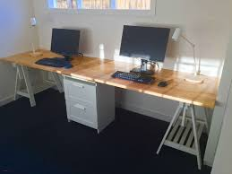 long office table. Ikea Study Table Lovely Long Home Office Desk Made From Two Gerton Beech Tops I