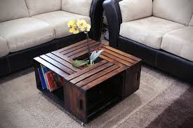 ... Coffee Table, Astonishing Brown Square Minimalist Wood DIY Crate Coffee  Table With Storage And On ...