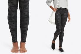 look we re loving the new spanx faux leather camo leggings