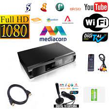 Best Digital Box All-In-One Package With Build-in Wifi YouTube DVB-T2 Set  Up Box For MediaCorp Channels Free Gift Digital Antenna ➕HDMI Cable and  FREE 2 X AAA Batteries
