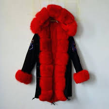 red coat with hood fashion beading black long jacket red fur lining with fox fur hood red coat with hood faux fur coat red trench