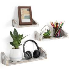 set of 3 wooden wall mounted shelves u