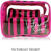 victoria s secret authentic 3pcs cosmetic pouch set black stripe