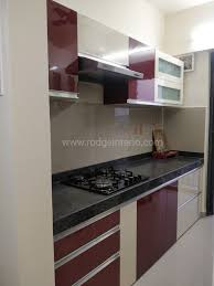 Modular Kitchen Handle Design Higloss Modular Kitchen With Stove Hood And Built In Hob