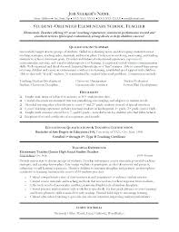 Teaching Resume Template Free Sample Elementary Teacher Resumes ...