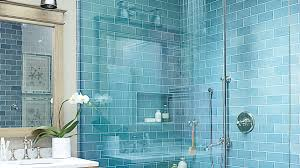 coastal style bath lighting. Beachy Blue, Glazed Subway Tile (from Waterworks) Are The Main Event In This Coastal Style Bath Lighting