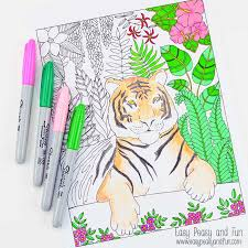 Small Picture Tiger Coloring Page for Grown Ups Easy Peasy and Fun