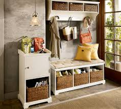 entryway design with storage bench also creative wicker basket shoe storage