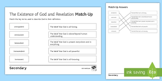 A omnipotent god can make a mountain he shouldn't lift because it is important to his desgined future that he shouldn't, for example god actually making a rock he can't lift is a logical contradiciton so long as he is described as being omnipotent. The Existence Of God And Revelation Key Terms Match Up Worksheet Worksheet