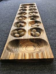 "Game With Stones And Wooden Board Mancala Stone Gem extra large Game Board solid wood 100 by 100"" by 100 69"