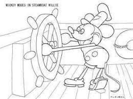 ミッキーマウスの蒸気船ウィリーの塗り絵の下絵画像