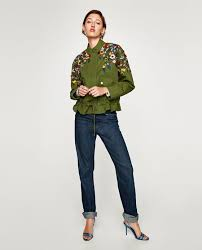 zara parka with fl embroidery