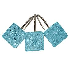crystal topaz blue shower curtain hooks
