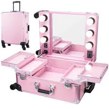 dels about chende pro studio artist train rolling makeup cosmetic case with light mirror