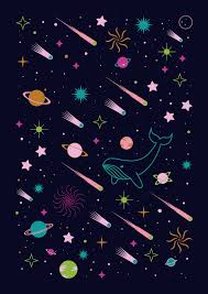Galaxy Pattern Awesome Carly Watts Illustration Night Sky Whale Space Stars Planet