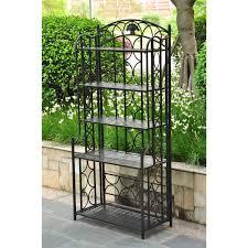 charming outdoor plant shelf herb stand garden contemporary hanging indoor wrought iron metal baker rack