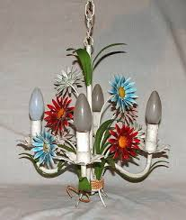 tole chandelier vintage french flowers