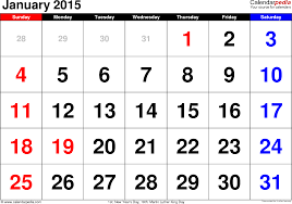 January 2015 Calendar Template January 2015 Calendars For Word Excel Pdf