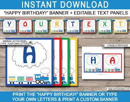 train party banner template birthday party bunting happy birthday banner editable and printable