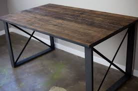 Adorable office table design astounding appearance Cubicle Furniture Rectangular Reclaimed Wood Desk With Square Metal Base Reclaimed Wood Table And Bench Beehiveschoolcom Furniture Creative Reclaimed Wood Desk Design Reclaimed Wood Desk