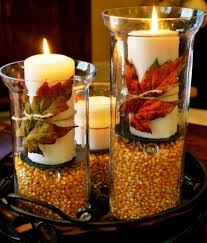 How To Decorate Candle Jars Autumn Table Centerpiece Decoration With White Candles On Long 74