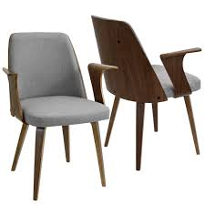 grey accent chair with arms. Verdana Walnut And Grey Accent Chair With Arms