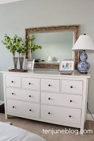 Bedroom: Minimalist White Bedroom Dressers With Indoor Plants On Top ...