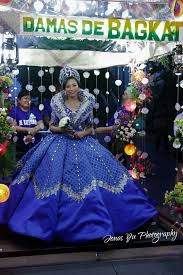Flores De Mayo Design Blue Filipiniana Terno Gown By Russ Cuevas Worn At The 1st