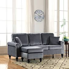 small sectional with chaise. Divano Roma Furniture Classic And Traditional Small Space Velvet Sectional Sofa With Reversible Chaise (Grey)