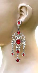 4 long red crystals evening chandelier earrings pageant
