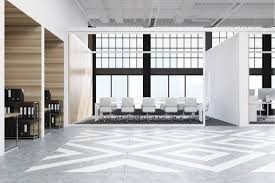 Office Conference Room Design Beauteous Office Hall Interior With Diamond Floor Pattern Wooden And White