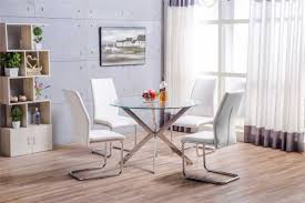 venice chrome round glass dining table and 4 lorenzo dining chairs set