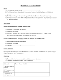 2015 7th Grade Science Final Review