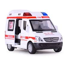 alloy ambulance vehicle with sounding light cast car model toys for gifts collection hobby