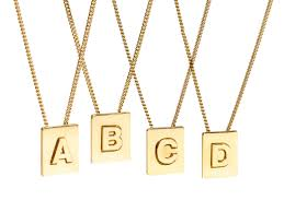 celine alphabet necklace in brass with gold finish