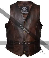 gallanto vintage brown side lace classic mens motorcycle leather waistcoat vest at men s clothing