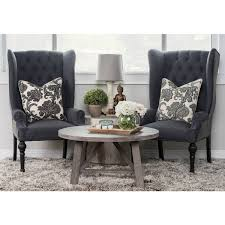 eleanor grey and black upholstered wingback chair by kosas home