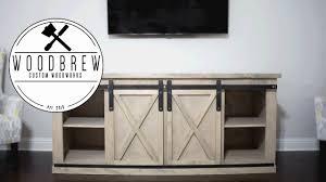 diy barn door entertainment center woodworking plans woodbrew